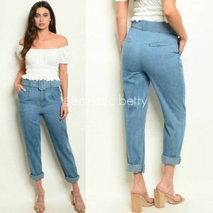 """""""Chelsea"""" High Waist Pleated Chambray Jeans"""